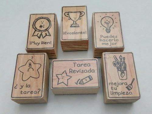 set de sellos de goma didácticos para maestros - español