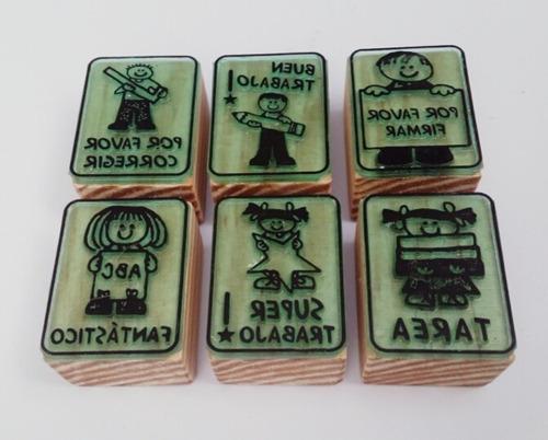 set de sellos de goma didácticos para maestros - español m-1