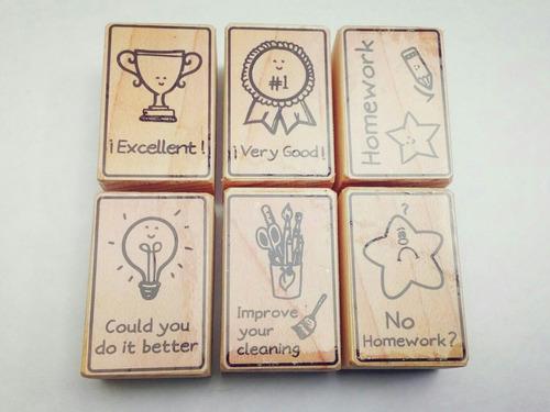 set de sellos de goma didácticos para maestros - inglés