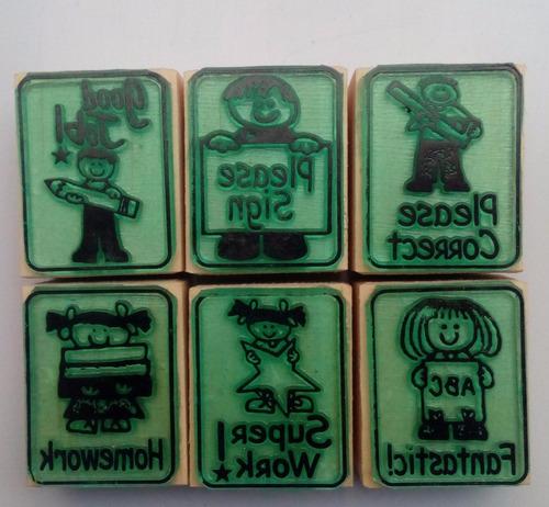 set de sellos de goma didácticos para maestros - ingles m-1