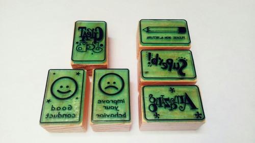 set de sellos de goma didácticos para maestros - ingles m-4