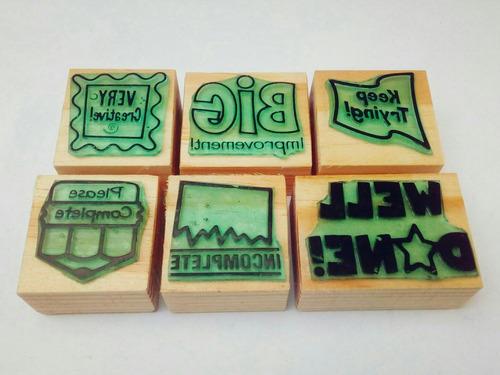 set de sellos de goma didácticos para maestros - ingles m-6