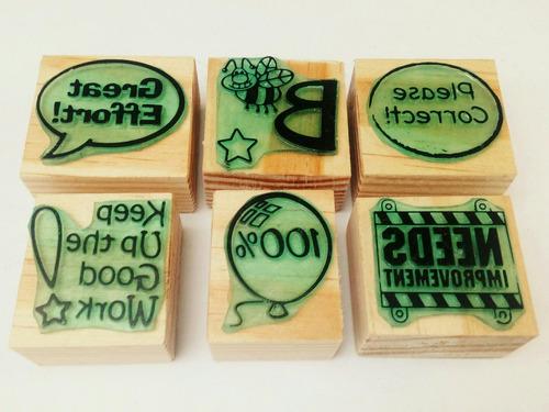 set de sellos de goma didácticos para maestros - ingles m-7