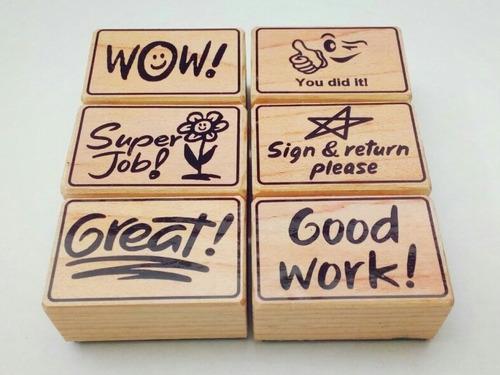 set de sellos de goma didácticos para maestros - ingles m-8