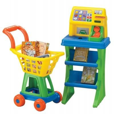 set de supermercado carro y caja scanner a pila