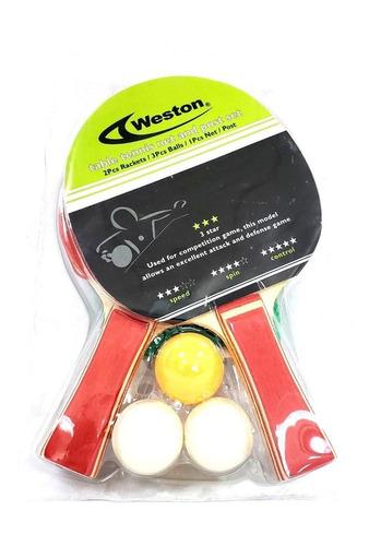set de tenis de mesa con 2 raquetas, 3 bolas y 1 malla marca