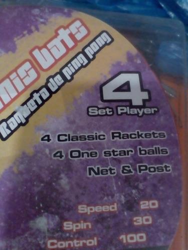 set de tenis de mesa ping pong yston 4 raquetas 4 pelotas
