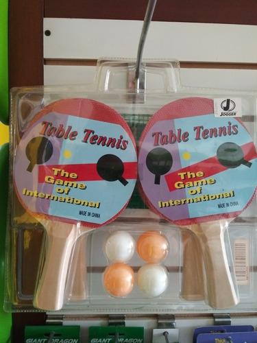 set de tennis de mesa incluye 4 pelotas 4 raquetas malla par