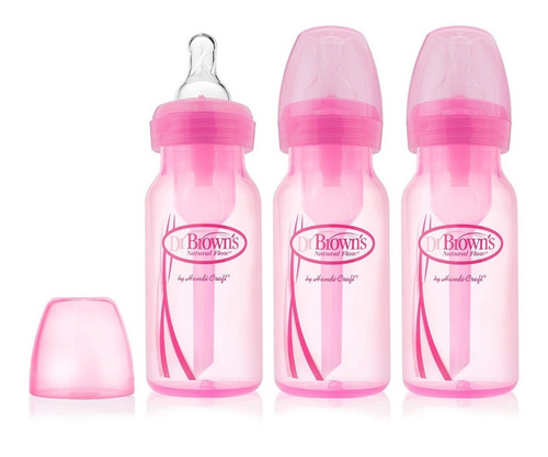 set de teteros dr. browns, 4 oz rosado x3