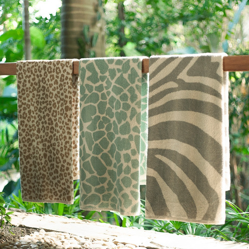 set de toallas animal print leopardo 75 x 44 cm