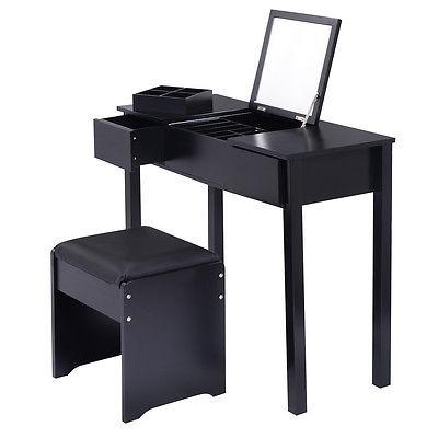 Set De Tocador Tocador Negro Espejo Dormitorio Muebles W - $ 992.990 ...