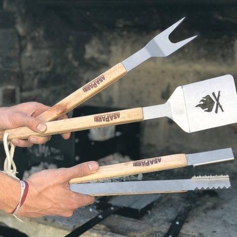 set de utensilios asaparri parrillero asado acero inoxidable