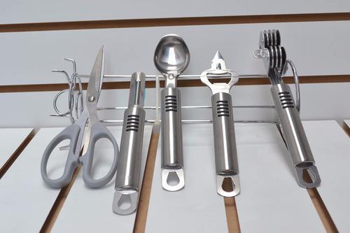 set de utensillos de acero inoxidable cromado nuevo