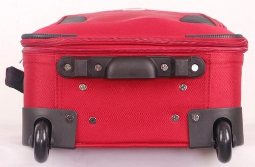 set de valijas olympia 5 piezas rojo y negro 2 ruedas