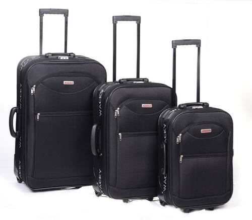set de valijas wacky liso rueda tractor + mochila regalo!!