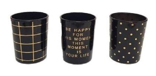 set de vasos gold x 3 ud decoración vidrio regalo shot deco