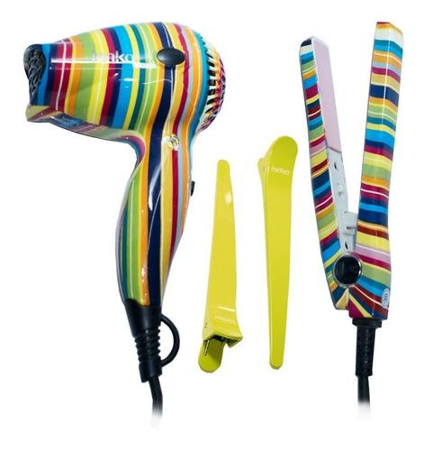 set de viaje plancha + secador de cabello ionika by alizz