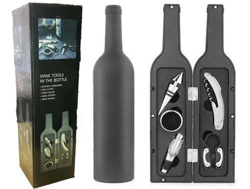 set de vino  botella 5 pcs estuche imantado