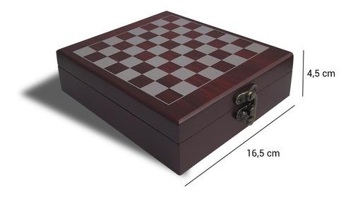 set de vino con juego ajedrez caja madera sacacorchos 4 pzs