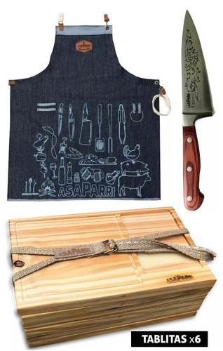 set delantal + cuchilla 17 ,5 + 6 tablas asaparri