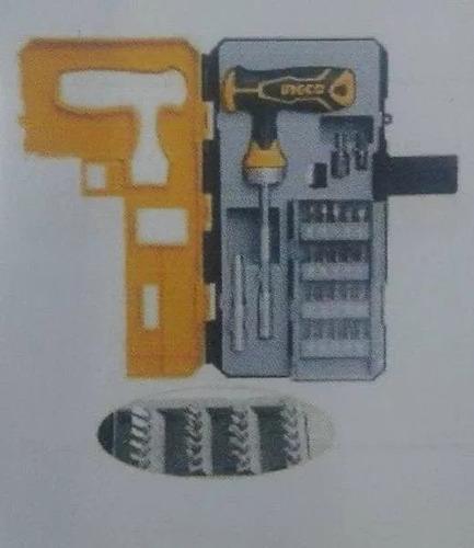 set destornillador llave trinquete 25pcs marca ingco.