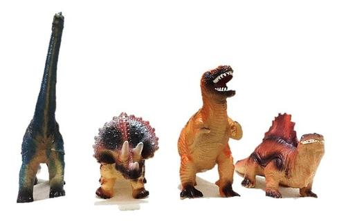 set dinosaurios juguetes niños sonido 4 pz 20cm goma resiste