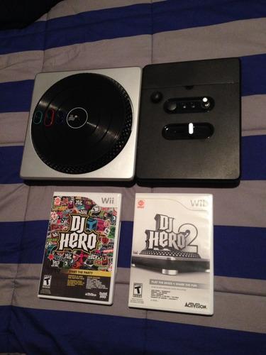 set dj hero 1 y 2 wii con tornamesa usado