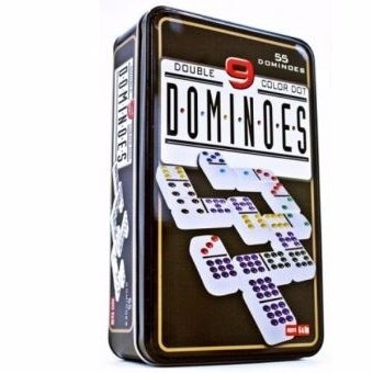set dominoes double 9 color dot - fichas de domino