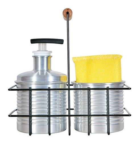 set dosificador detergente y porta esponja aluminio