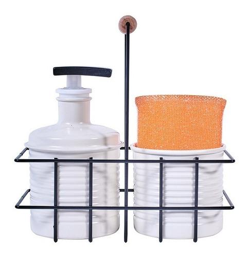 set dosificador detergente y porta esponja beige