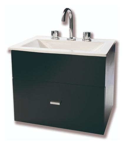 set en combo baño vanitory negro 60cm inodoro pringles griferia completa lever