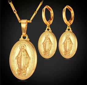 e698d911e224 Set En Oro 18k Virgen María Dije Y Aretes Alta Calidad Mujer