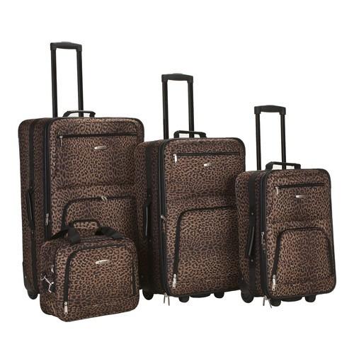 set equipaje rockland 4 piezas de equipaje ajuste leopardo