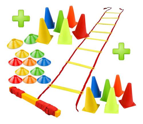 set escalera entrenamiento + 12 conos + 12 platos crazy fit