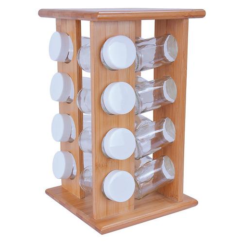 set especiero rack giratorio de madera x16 frascos de vidrio
