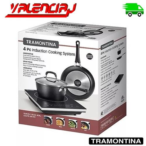 set estufa portatil y ollas de induccion tramontina 4 piezas