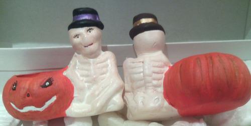 set figuras adornos esqueletos halloween