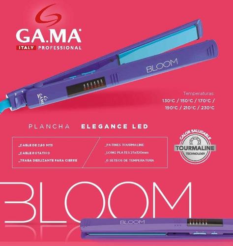 set gama bloom violeta planchita led + secador + protector