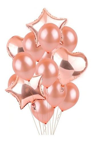 set globos metalizados rosa oro x 14 unidades - fiesta
