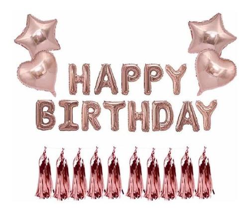 set globos rosa gold happy birthday cumpleaños estrella