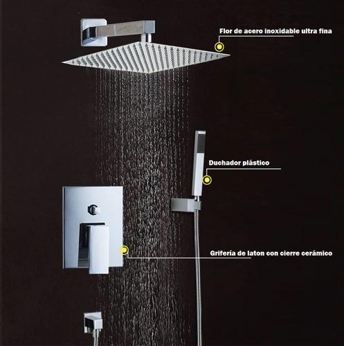 set grifería monocomando + ducha 20x20 + duchador