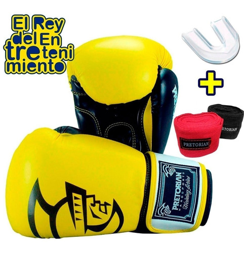 set guantes boxeo pretorian vendas bucal profesional -el rey