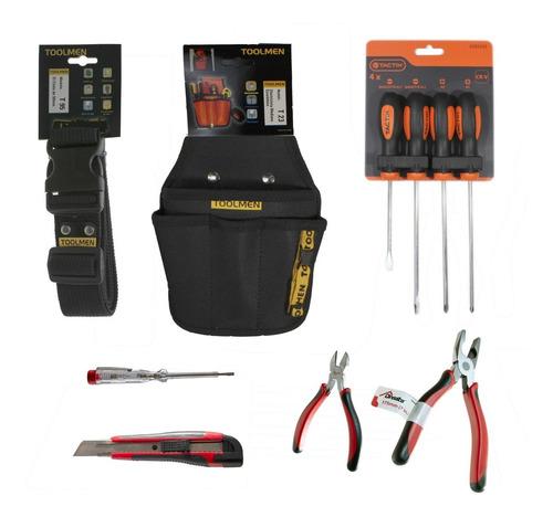 set herramientas 8 piezas + cinturon porta toolmen t23 t95