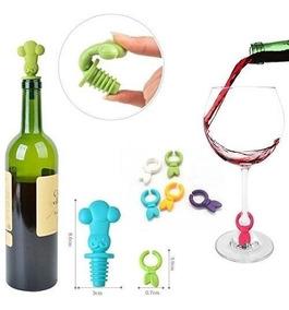 13877ef7c24b Set Identificadores Marcadores Copas Silicona Tapon Botella