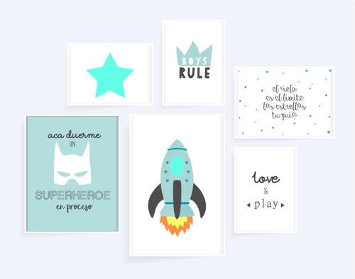 set infantil bebes nórdico colores marcos cuadros decoracion