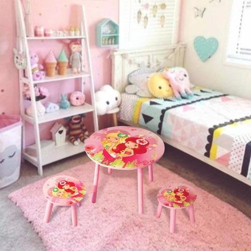 set infantil mesa con dos sillas madera colores niños
