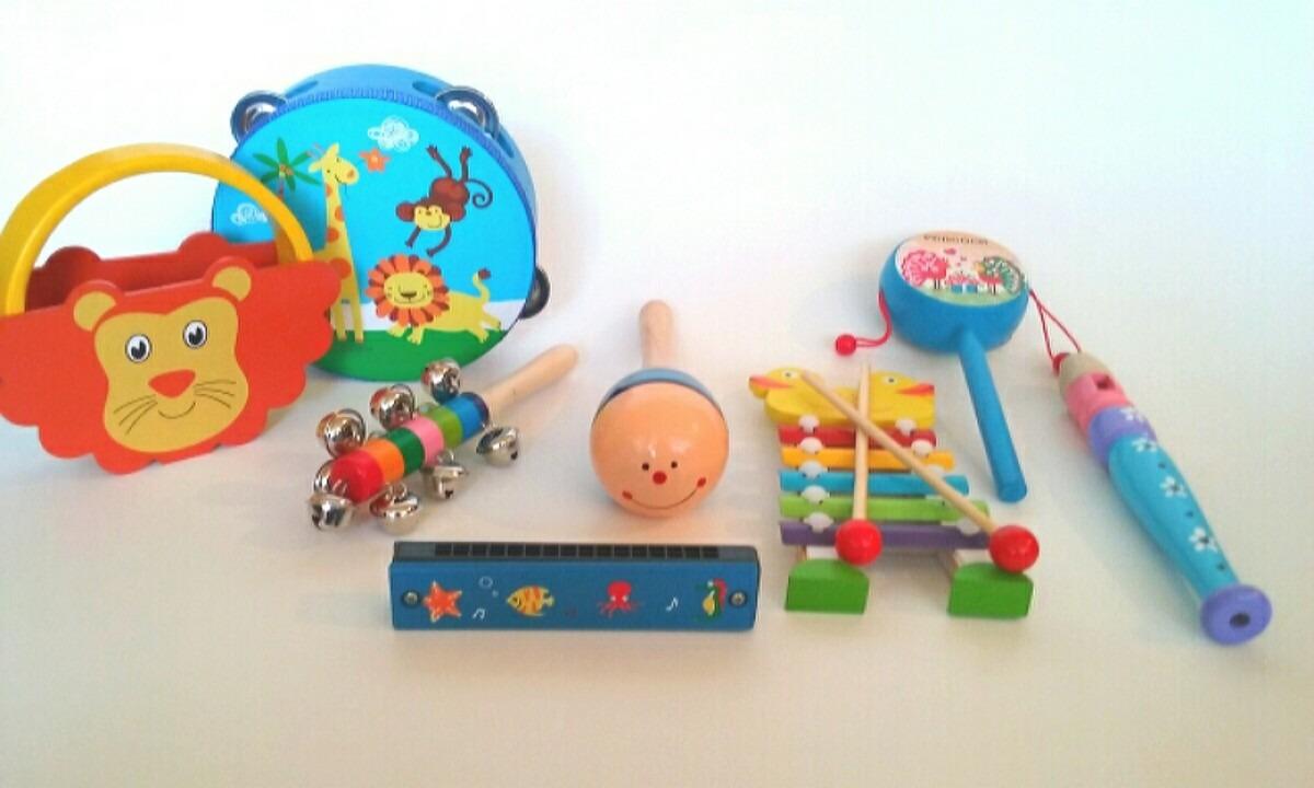 Conjunto de instrumentos musicales de madera para niños con xilófono, tamborín, pandereta, maracas, sonajero y harmónica