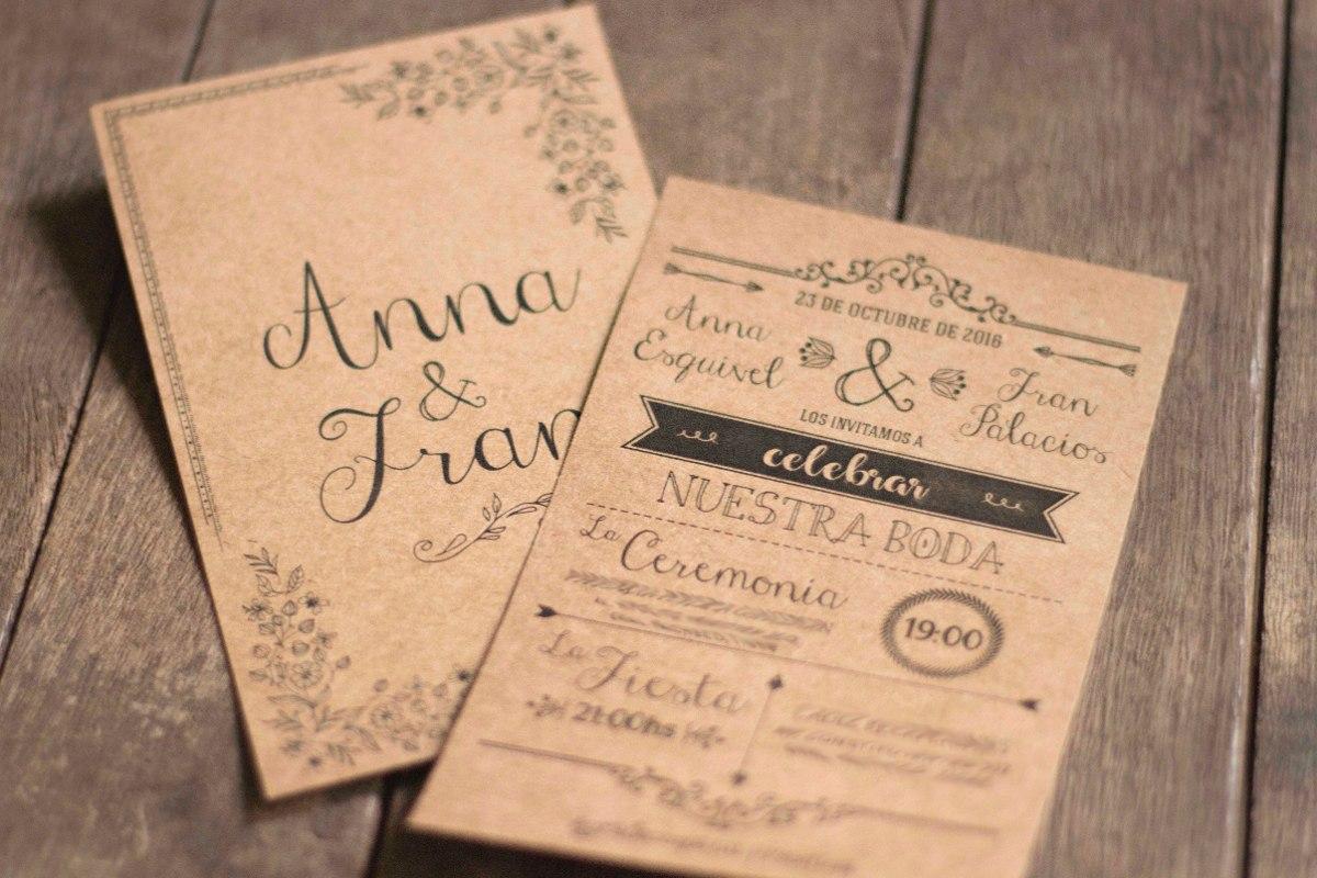 Set Invitaciones Rústicas Bodas Tarjetas Con Sobre Impreso