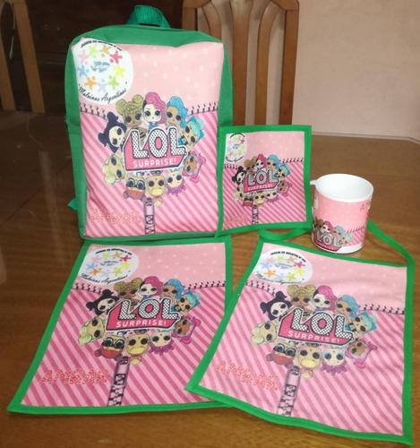 set jardin mochila individual servilleta toalla y taza