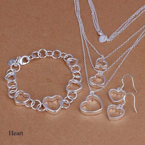 set joyas conjunto collar arete, pulsera de plata 925